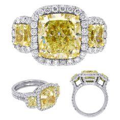 Beautiful Cushion Cut Fancy Yellow Diamond Ring in Platinum  Price: $101,287.50