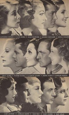 Golden Age Profiles: Katharine Hepburn, Clark Gable, Joan Crawford, Maurice Chevalier, Norma Shearer, Greta Garbo, Warner Baxter, Claudette Colbert, Frederic March, Marlene Dietrich, Janet Gaynor, Norman Foster, Mae West, Gary Cooper, Ruby Keeler