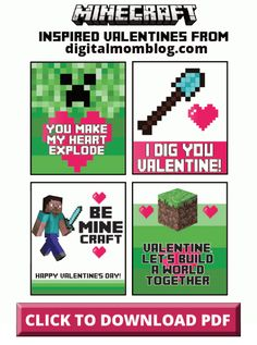 Free Printable Minecraft Valentine's Day Cards From Digital Mom Blog