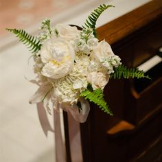 White Floral Aisle Markers