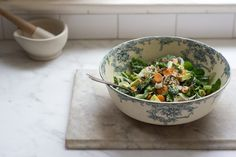 The pretty bowl caught my eye, but after reading the recipe I want to make this salad too.