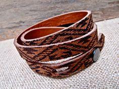 Hollyhawk Leather Wrap Bracelet Cuff Unisex, Threefold in Southwestern Print, Tan Brown