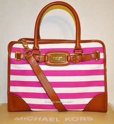 2e4510a8aa74 Michael Kors Hamilton Large EW Pink Striped Canvas  amp  Leather Tote Bag  Purse NWT