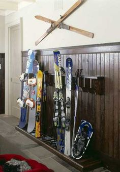 Ski storage in mudroom -- Designer: Robin Nadel of Wayne Swadron Architect  -- Project: Hemlock Court -- Cabinetmaker: Bernard Rioux -- Walls: Old White (4) by Farrow & Ball