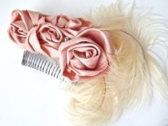 Pink Roses and Ivory Ostrich Feather Hair Comb by BoutiqueJuJu, $48.00