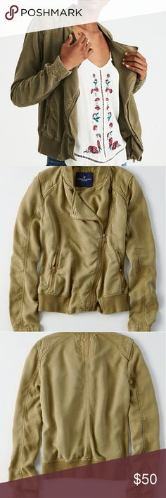 American Eagle Soft Moto Jacket Soft drapey tencel Assymetrical front zip Knit trim at neck, hem Zippered side pockets   Machine wash American Eagle Outfitters Jackets & Coats