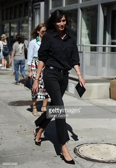 Emmanuelle Alt is seen outside the Calvin Klein show during New York Fashion Week 2016 on September 17, 2015 in New York City.