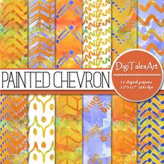 Items similar to Painted Chevron fall art watercolor hand painted digital paper set, blue orange nautic sea waves geometric zigzag pattern, nautic background on Etsy Paint Chevron, Etsy Handmade, Handmade Gifts, Printable Scrapbook Paper, Fall Color Palette, Chevron Patterns, Packaging Supplies, Mix Media, Creative Gifts