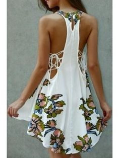 Round Neck Sleeveless Floral Printed Key Hole Back Side Hollow Out High Low Hem Mini Dress | WithChic