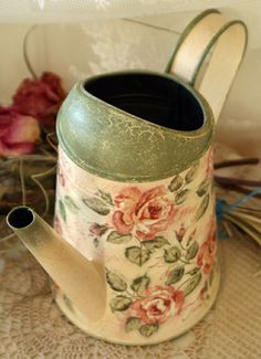 Shabby chic watering can, Roses, Vintage style decoupage