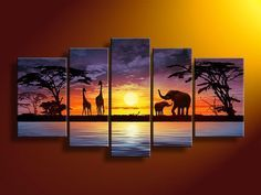 5040 handpainted 5 piece abstract oil painting on canvas wall art African scenery sunset picture for living room home decora 5500 Oil Painting Abstract, Abstract Wall Art, Canvas Wall Art, Painting Art, Shadow Painting, Woman Painting, Images D'art, African Art Paintings, Oil Paintings