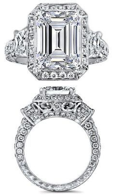 Emerald Cut Diamond Engagement Ring Brilliant Trapezoid Side Stones Engraved Pave Band