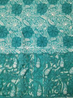 Turquoise Cotton Unstitched Kurta Fabric with Chikankari and Net Applique Daaman