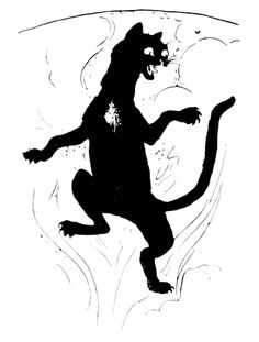 In Celtic folklore, a Cait Sidhe is a black faery cat; said to be as big as a dog on occasions, with a spot of white hair upon its chest.