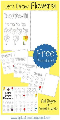 How To Draw Flowers ~ Free Printables with drawing tutorials for a daffodil, rose, bell flower, cornflower, violet and poppy