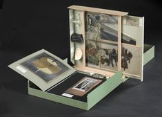 Marcel Duchamp, Boîte-en-valise [Box in a valise] Series D, Paris 1961    I've seen this in person. Pretty amazing sort of artist portfolio. Duchamp's works, all in one concise valise.