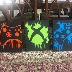 Xbox Video Game Controller Painting Video Game Art Hand Painted Custom Colors Custom Wall Art Video Game Decor Teenage Wall Art - Xbox Games - Trending Xbox Games for sales - Xbox Controller Painting Boys Game Room, Boy Room, Kids Room, Xbox One Video Games, Video Game Rooms, Video Game Bedroom, Xbox Games, Video Game Decor, Video Game Art
