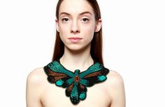 massive statement necklace collar embroidered jewelry seed bead embroidered black gold big beaded large bird necklace Christmas women gift