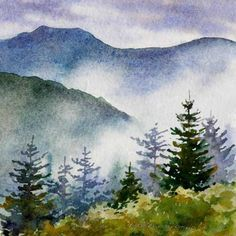 Varvara harmon - artist and illustrator - original paintings, miniature watercolors landscape paintings, mountains Watercolor Pictures, Watercolor Landscape Paintings, Watercolor Trees, Landscape Art, Simple Watercolor, Tattoo Watercolor, Watercolor Animals, Watercolor Background, Abstract Watercolor