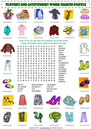 Clothes and Accessories Word Search Puzzle ESL Worksheet
