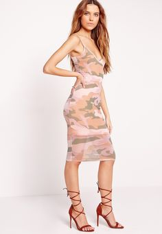 Missguided - Mesh Camo Print Midi Dress Nude