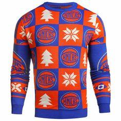 363903f46 Men s Blue Orange New York Knicks Patches Crew Neck Sweater