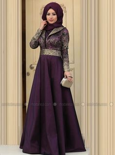 Kosem Evening Dress - Plum - Zehrace Hijabi Gowns, Hijab Abaya, Hijab Dress, Muslim Women Fashion, Islamic Fashion, Abaya Fashion, Modest Fashion, Muslim Dress, Floral Maxi Dress