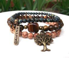 Nature Bracelet Tiger Eye Bracelet Yoga Bracelet by BlueStoneRiver, $34.95