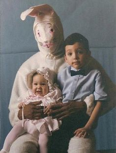 Well.....not much to say. At least the kids look happy. Is this a biracial bunny?  Bad-easter - yahoo