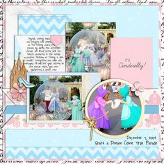 Meeting Disney Cinderella Princess and Mice digital scrapbook layout using Project Mouse (Princess) Cinderella | Kit & Journal Cards by Britt-ish Designs and Sahlin Studio