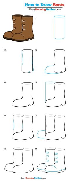 Color Pencil Drawing Tutorial - Learn to draw boots. This step-by-step tutorial makes it easy. Kids and beginners alike can now draw a great looking boots. Doodle Drawings, Cartoon Drawings, Easy Drawings, Doodle Art, Animal Drawings, Pencil Drawings, Drawing Tutorials For Kids, Pencil Drawing Tutorials, Drawing For Kids