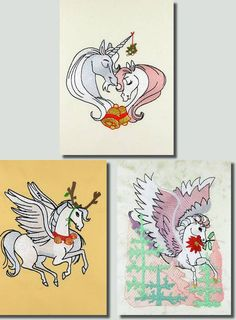 BFC-Creations Machine Embroidery Pegasus Some fun alternatives for Christmas items. Use on shirts, table mats, wall hangings and linens. For a totally different look, stitch the blackwork designs in gold or red metallic thread. You will receive three sizes of each design: Medium (5x7), Large (6x10), and Jumbo (8x8).
