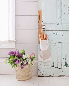 Photographing more bread bags today.  These were made in France and made from vintage French linens. While I stayed in France with @frenchlarkspur we would wake up each morning with a bag like this filled with fresh croissants hanging on our door.  More bags just arrived from France and I will be listing a few of these in our online shop this week.  We will also be getting more market baskets in stock soon.