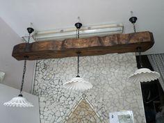 Lampadario rustico in legno e terracotta trave antichizzata da 160 cm