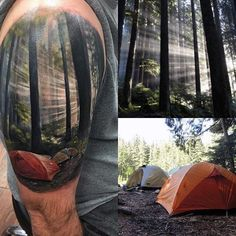 Realistic Watercolor Upper Sleeve Of Tents In Forest On Man