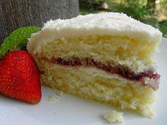 Vegan White Cake with Raspberry Filling
