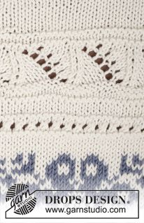 """Knitted DROPS jumper with pattern borders in """"Cotton Merino"""". Size XS/S - XXXL. ~ DROPS Design 161"""