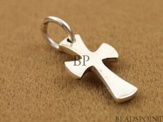 Sterling Silver Cross Charm / Pendant with Jump ring by Beadspoint, $6.99