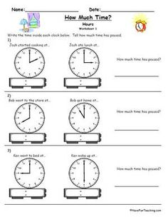 math worksheet : telling time worksheet  6 problems  worksheets : Age 8 Maths Worksheets