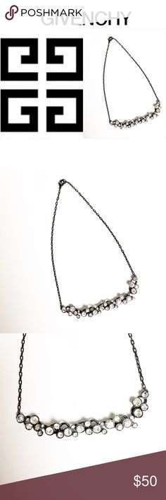Givenchy Jeweled Necklace Stunning necklace by Givenchy in gunmetal gray with clear rhinestones.  Necklace is in excellent condition. Givenchy Jewelry Necklaces