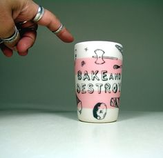 Bake and Destroy doodles ittybitty cylinder in by CircaCeramics, $18.00