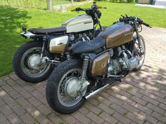 My two honda gl1000's .caferacer and streettracker.made by bjorn puimege,belgium