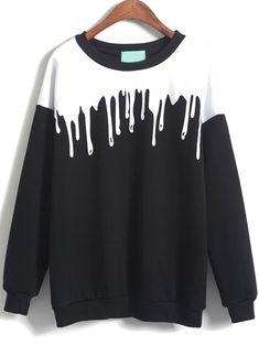 Black Long Sleeve Drop Print Loose Sweatshirt - abaday.com
