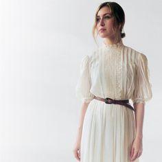 Vintage Cream Floral Lace Dress