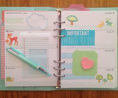Filo Cuteness: Woodland Friends  Blue Polka Dots in My Planner!
