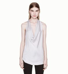 GLASSY SHIRTING COWL TOP - Helmut Lang $195