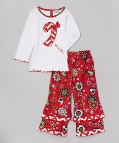 (Love this) White Candy Cane Tunic & Pants - Infant, Toddler & Girls by AnnLoren #zulily #zulilyfinds
