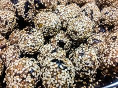 Energy balls coated in sesame seeds. All natural gluten free recipe ....