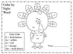 color by sight word pdf
