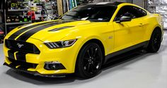 Get your customized Racing Stripes at Zilla Wraps in North Fort Worth! We create and install custom Rally Stripes and Racing Stripes for any vehicle! Ford Mustang Shelby Gt500, 2018 Mustang Gt, Mustang Cars, Matte Black Mustang, Yellow Mustang, Classic Cars Usa, Ford Mustang Wallpaper, Lux Cars, Car Ford